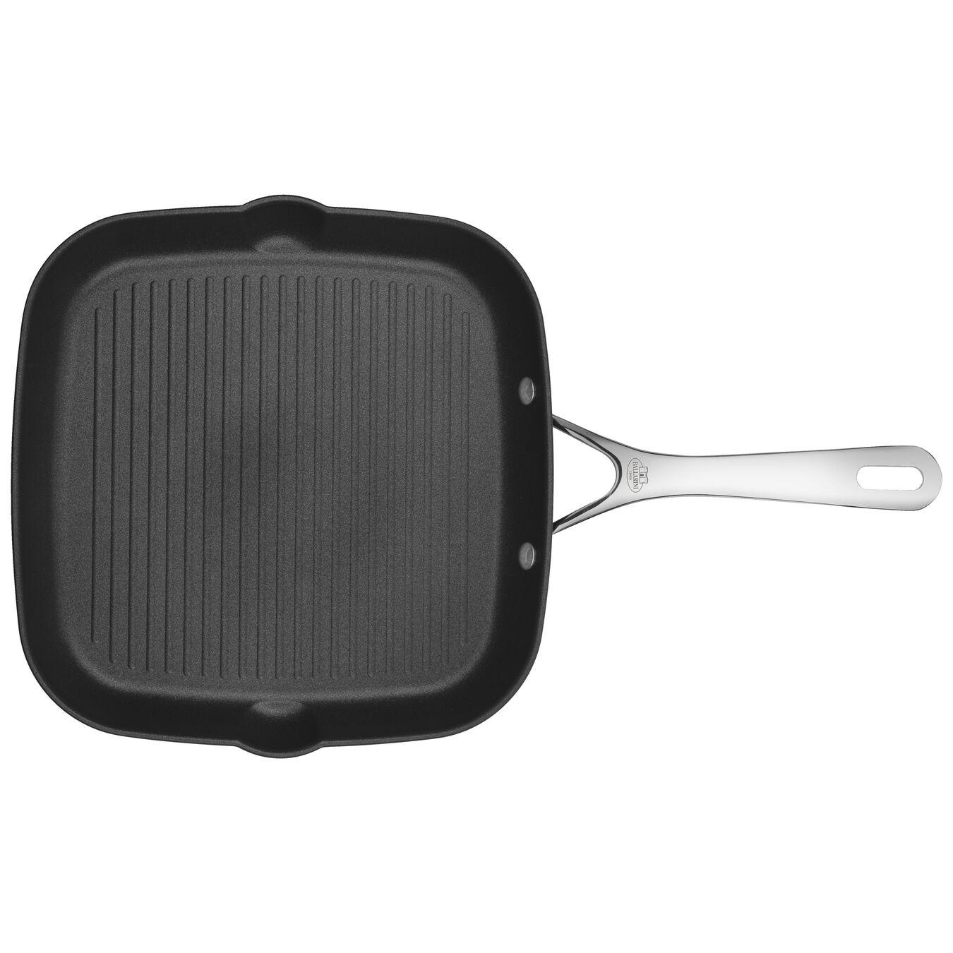 28 cm / 11 inch Aluminum round Grill pan, Black,,large 1