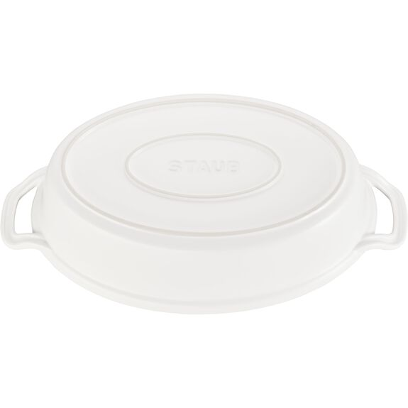 """14"""" Oval Covered Baking Dish, Matte White, , large 3"""