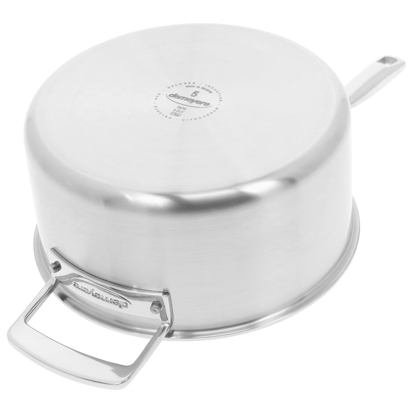 3.8 l round sauce pan with lid 4QT, silver,,large 3