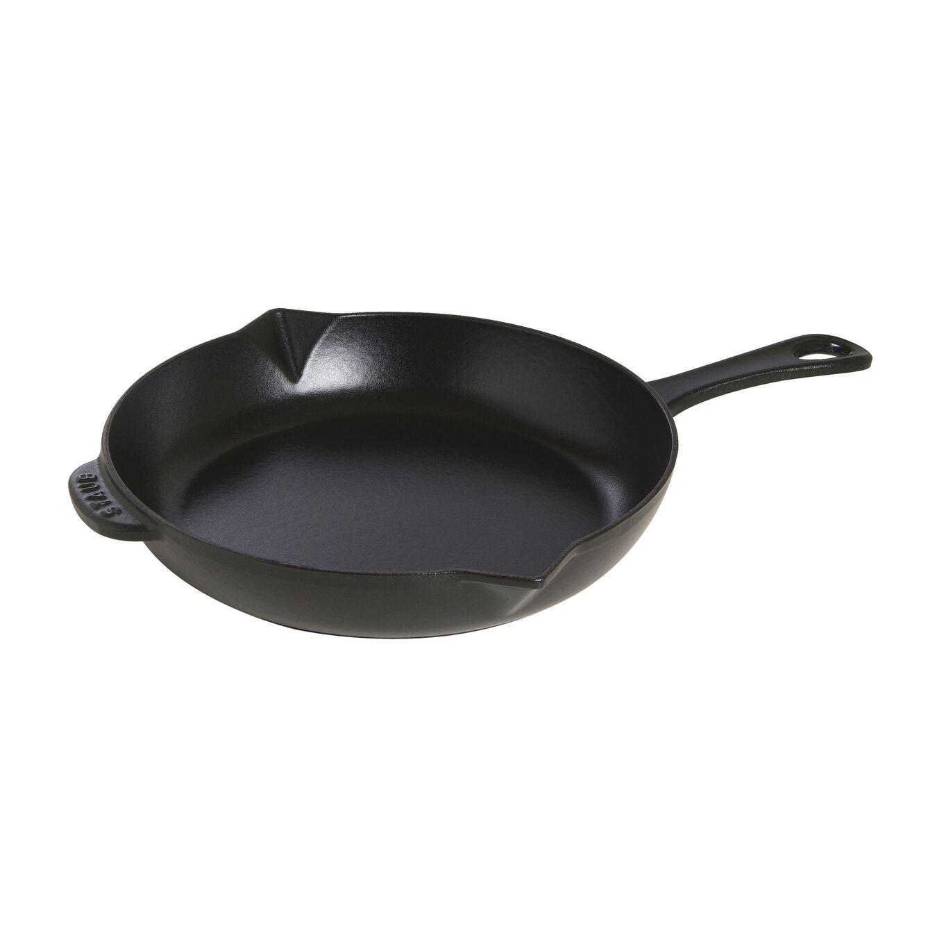 26 cm Cast iron Poêle with pouring spout, Black,,large 1