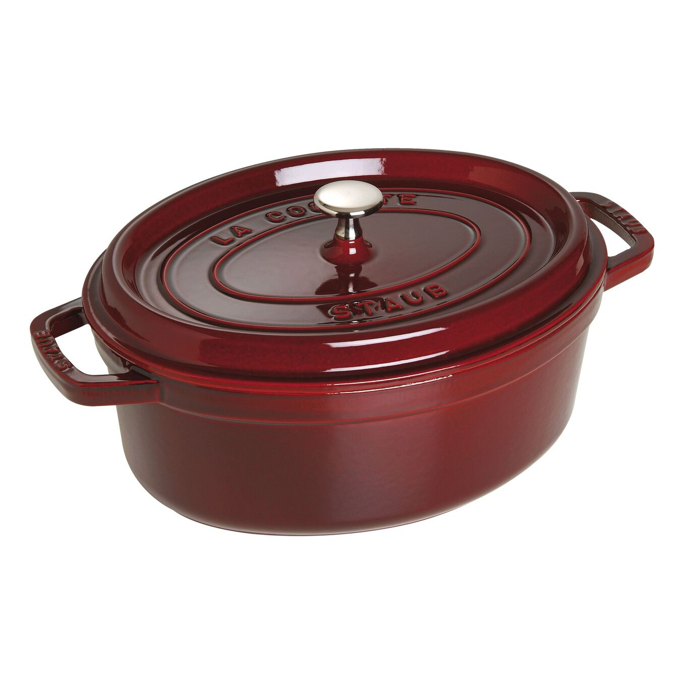 4,25 l Cast iron oval Faitout, Grenadine-Red,,large 1