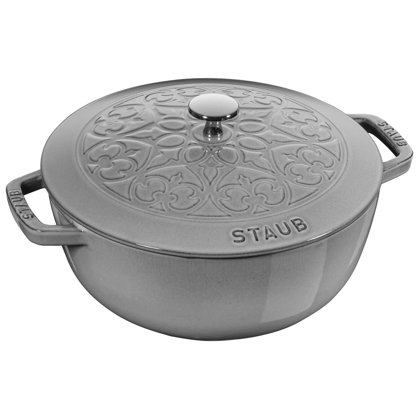 3.6 l round French Oven, lily decal, graphite-grey,,large 1
