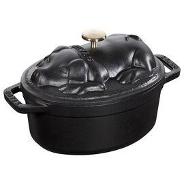 Staub Cast iron, 1-qt-/-17-cm oval Cocotte Pig, Black