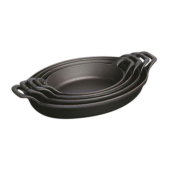 8-inch x 5.5-inch Oval Gratin Baking Dish - Matte Black,,large 3