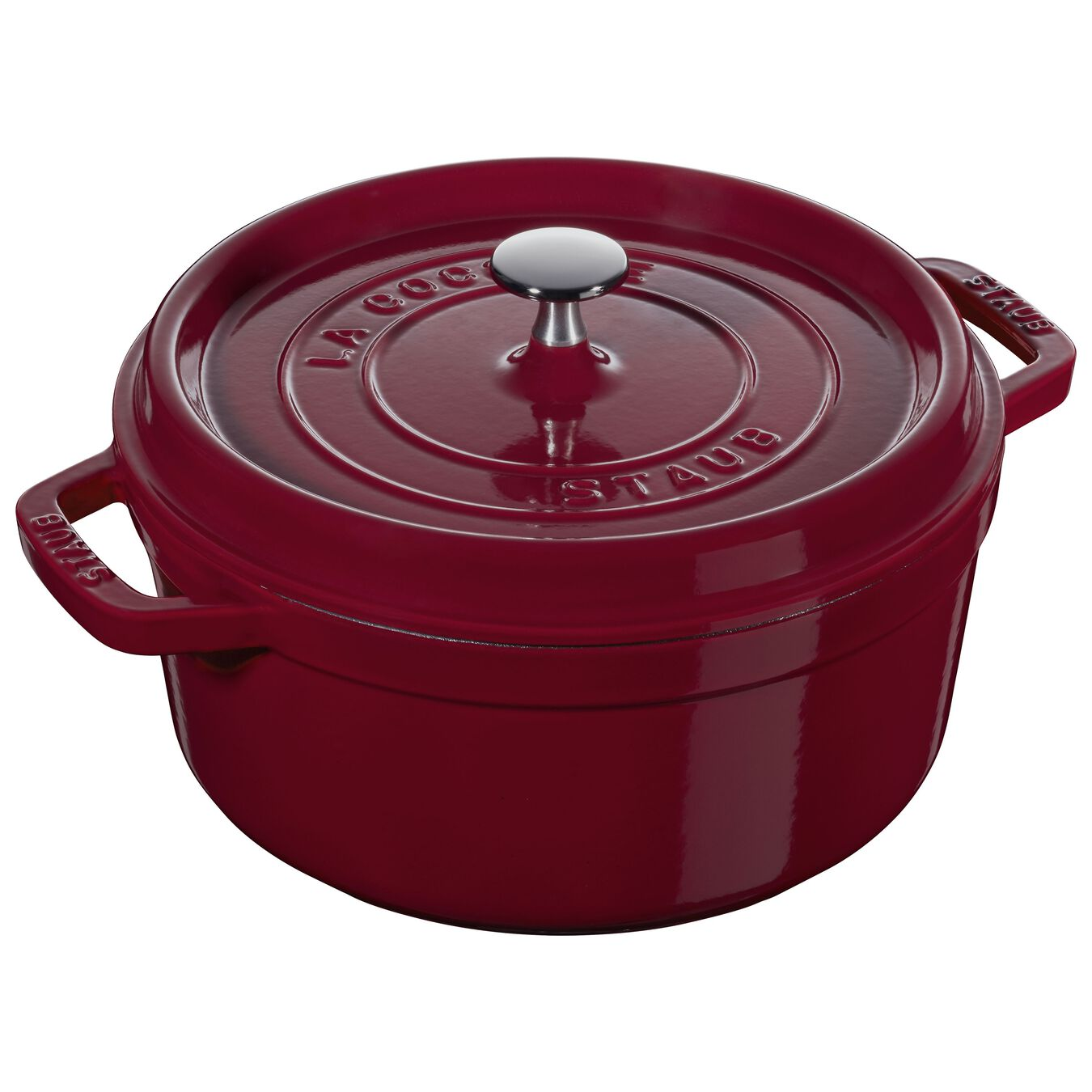 5.25 l Cast iron round Cocotte, Bordeaux,,large 1