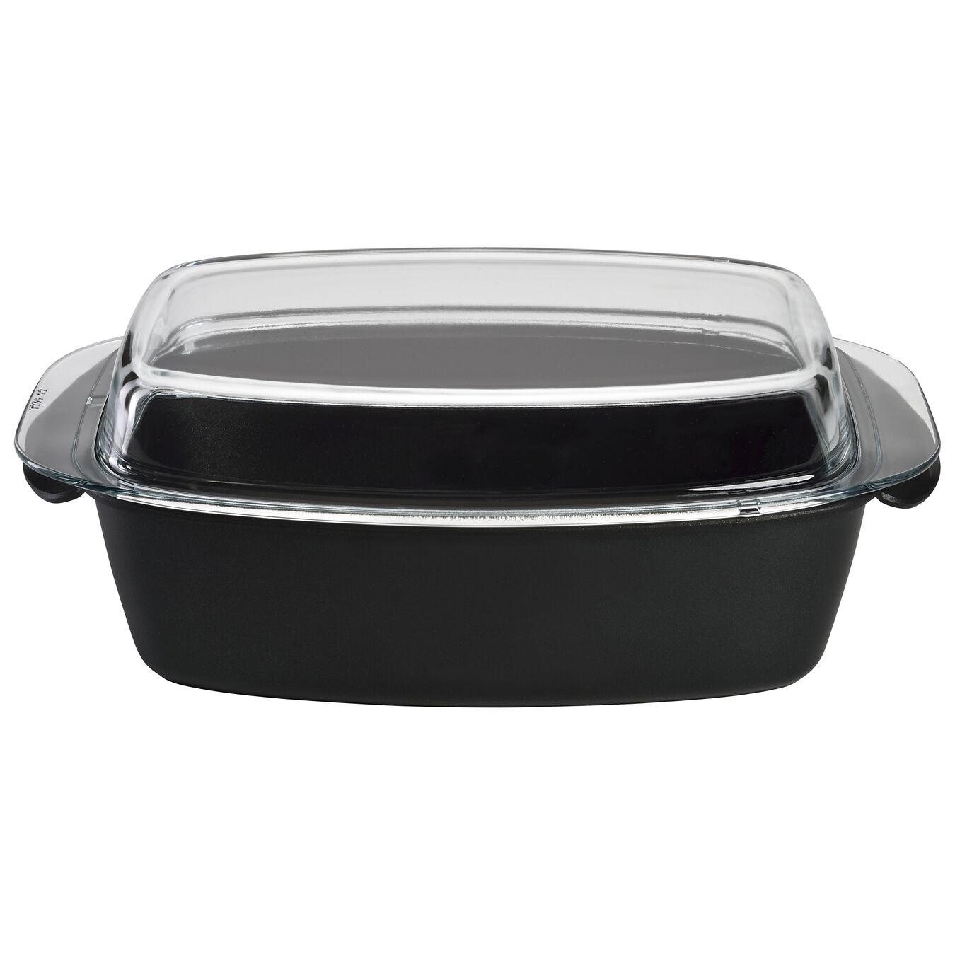 Cocotte con coperchio di vetro - 32 cm, nero,,large 1