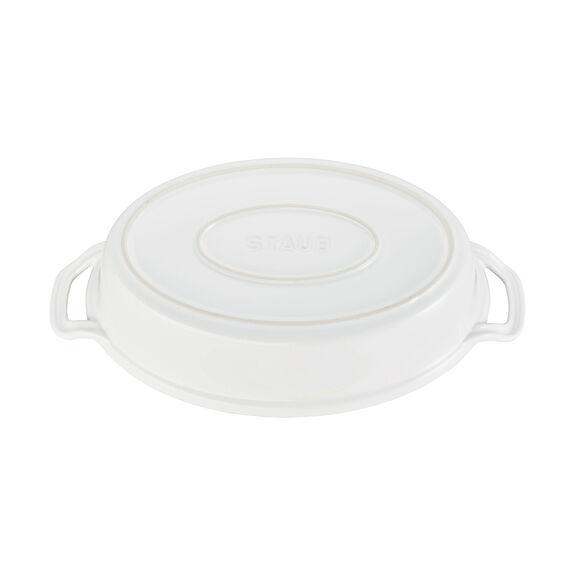 Ceramic Oval Covered Baking Dish, White,,large 3