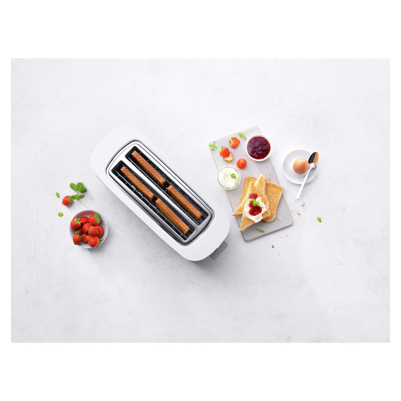 Toaster mit Brötchenaufsatz, 2 Schlitze lang, Silber,,large 4
