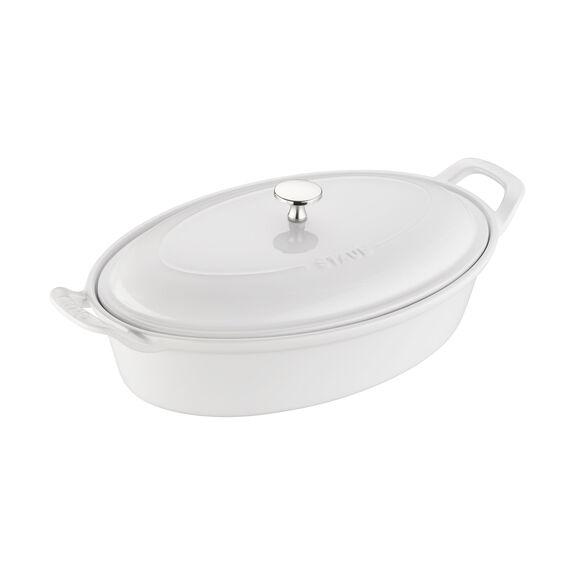 Ceramic Oval Covered Baking Dish, White,,large