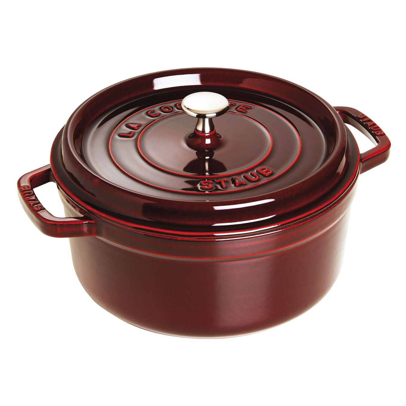 3,75 l Cast iron round Faitout, Grenadine-Red,,large 1