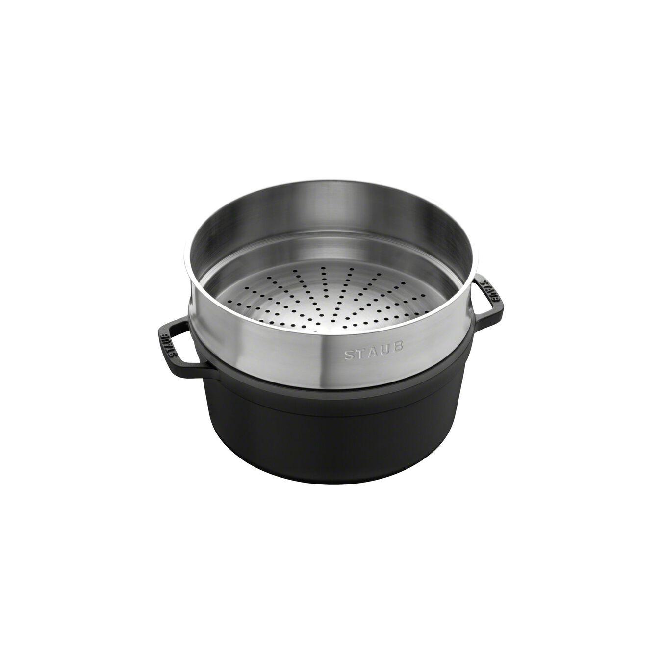 Cocotte con cestello a vapore rotonda - 26 cm, nero,,large 2