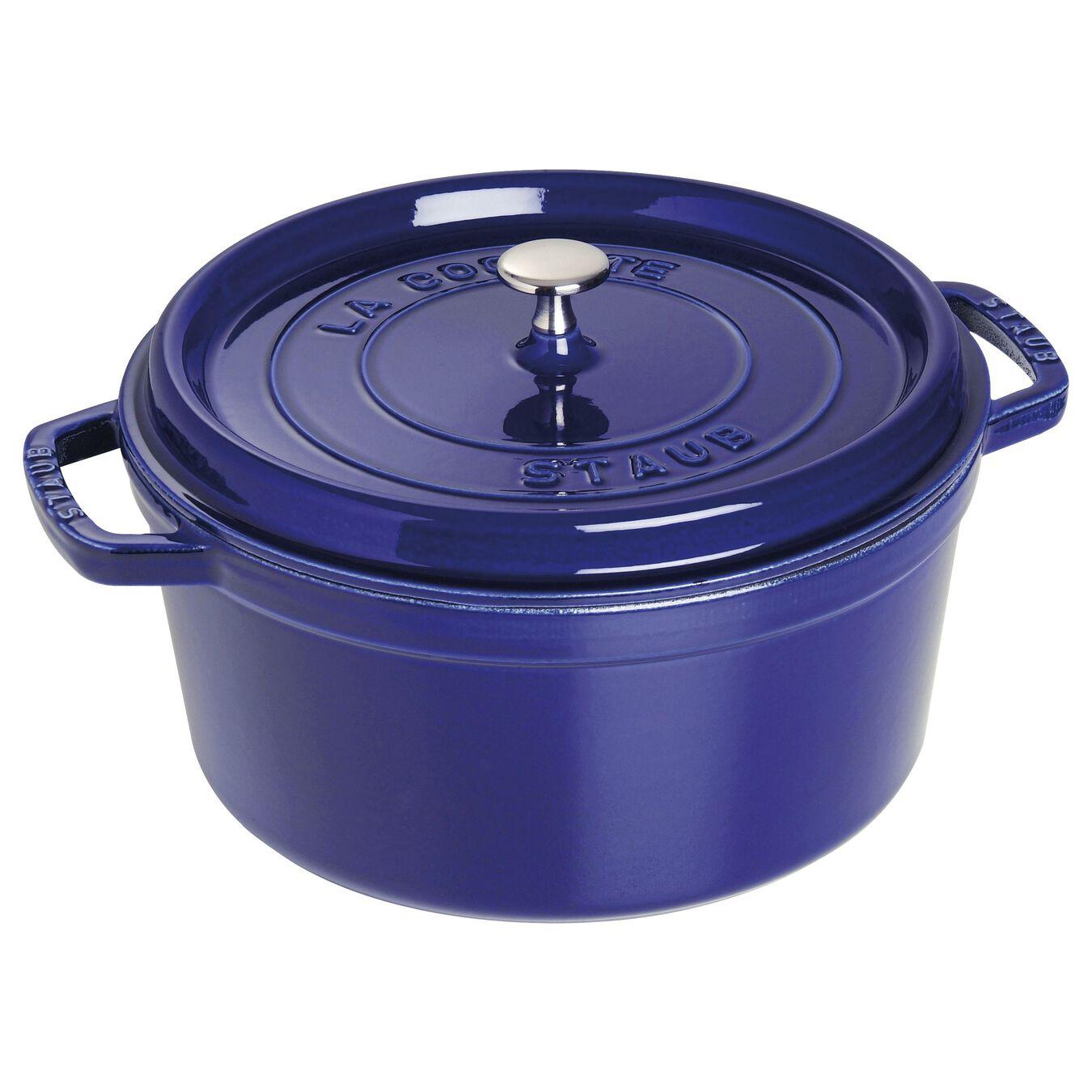 7 qt, round, Cocotte, dark blue,,large 1