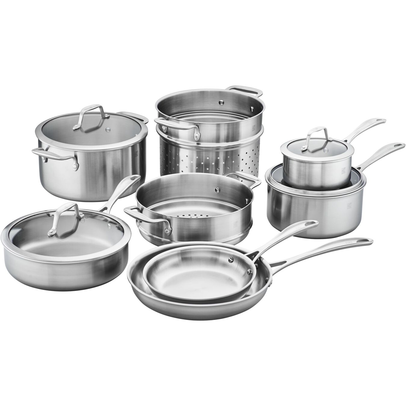 3-ply 12-pc Stainless Steel Cookware Set,,large 1