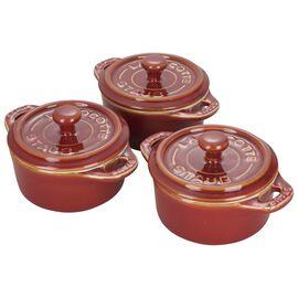 Staub Ceramics, 3-pc round Cocotte set, Red