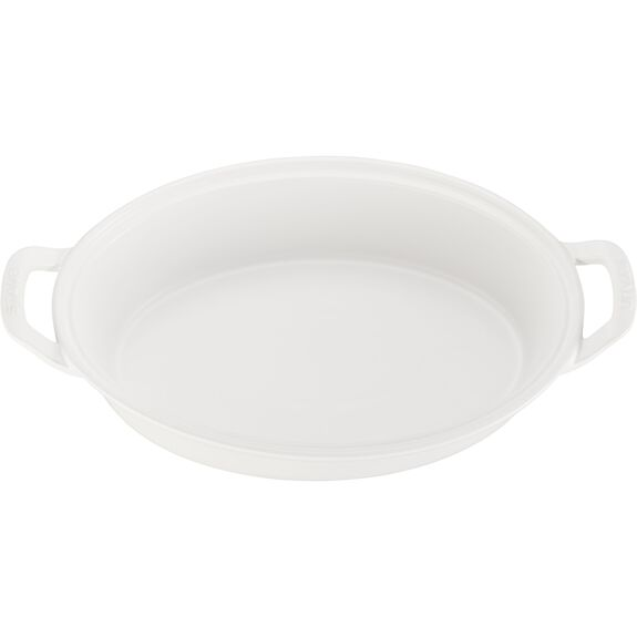 """14"""" Oval Covered Baking Dish, Matte White, , large 2"""
