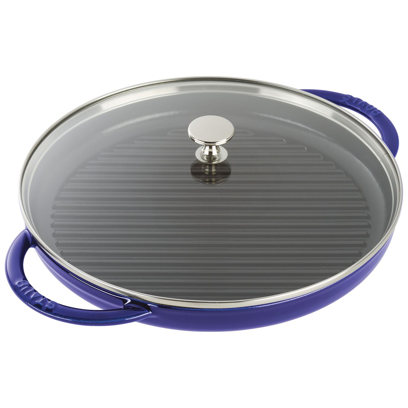 round, Grill pan with glass lid, dark blue,,large 1