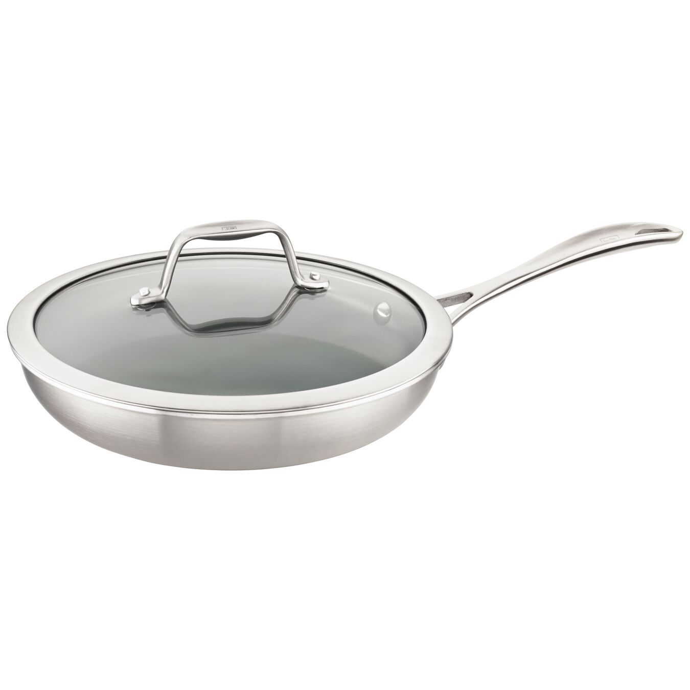 3-ply 9.5-inch Stainless Steel Ceramic Nonstick Fry Pan with Lid,,large 1