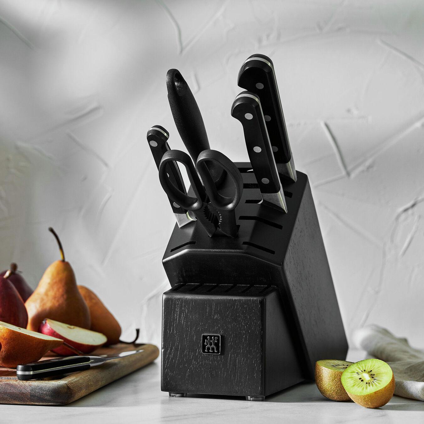 7-pc, Knife block set, black matte,,large 7