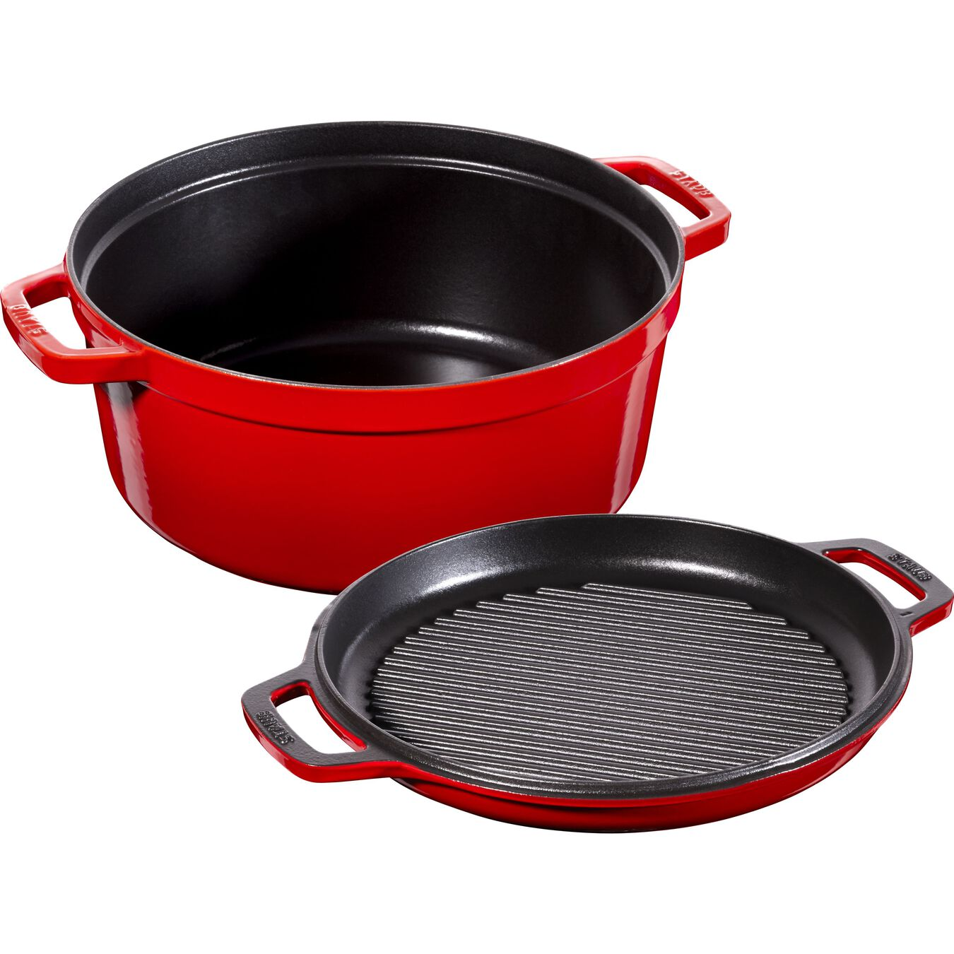 6 l Cast iron round Braise + Grill, cherry - Visual Imperfections,,large 3