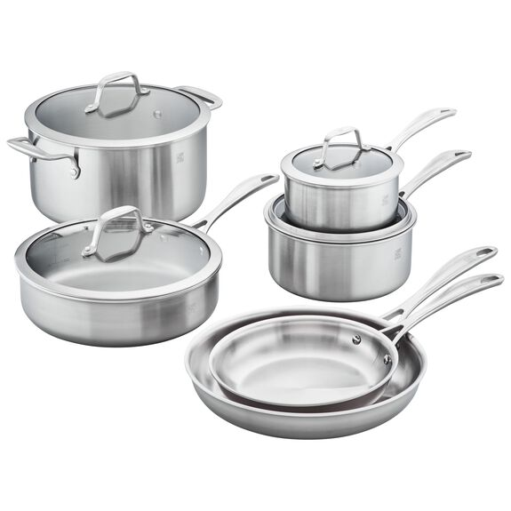 3-ply 10-pc Stainless Steel Cookware Set,,large