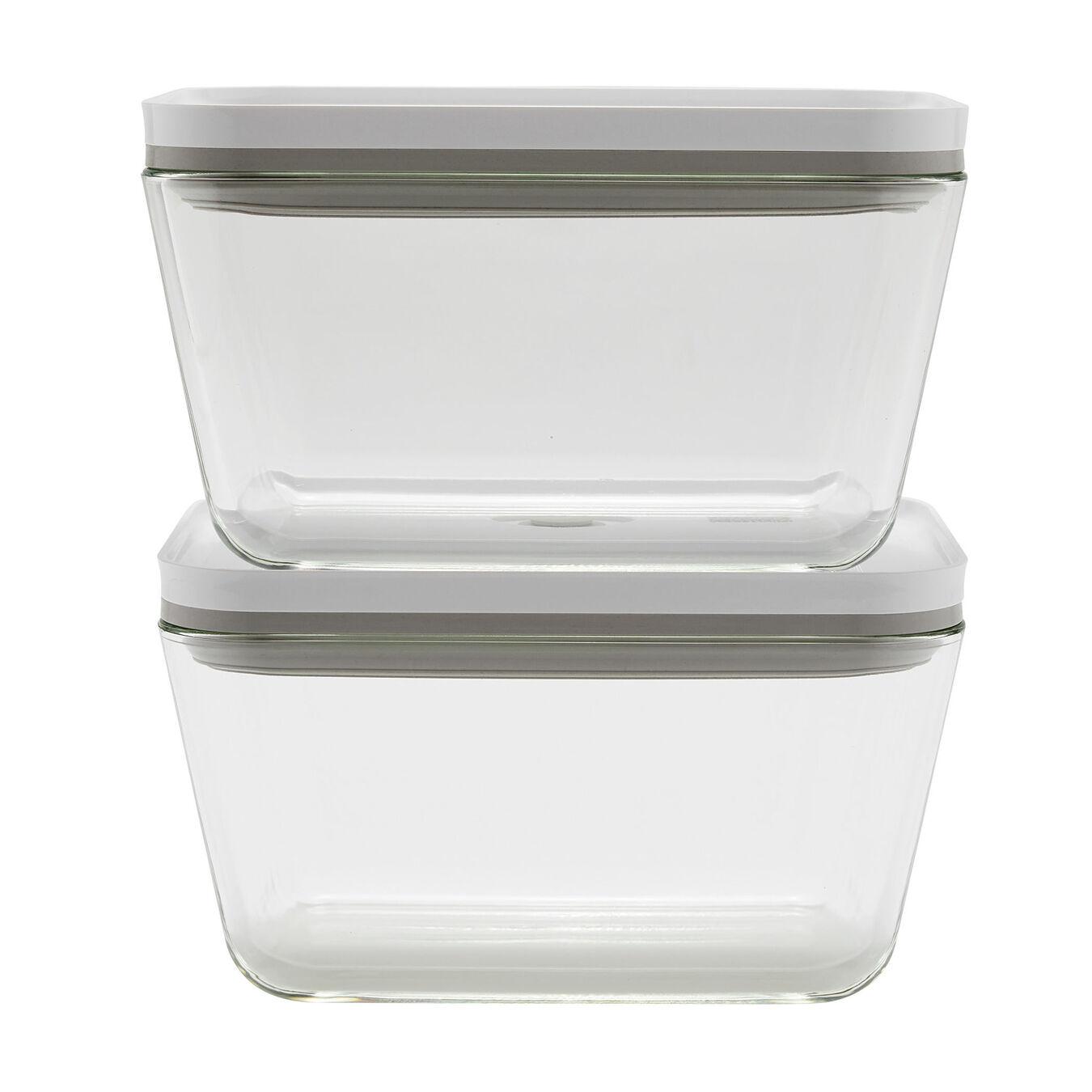2 Piece Vacuum box set, glass, white,,large 1