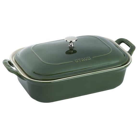 Ceramic Rectangular Covered Baking Dish, Basil,,large