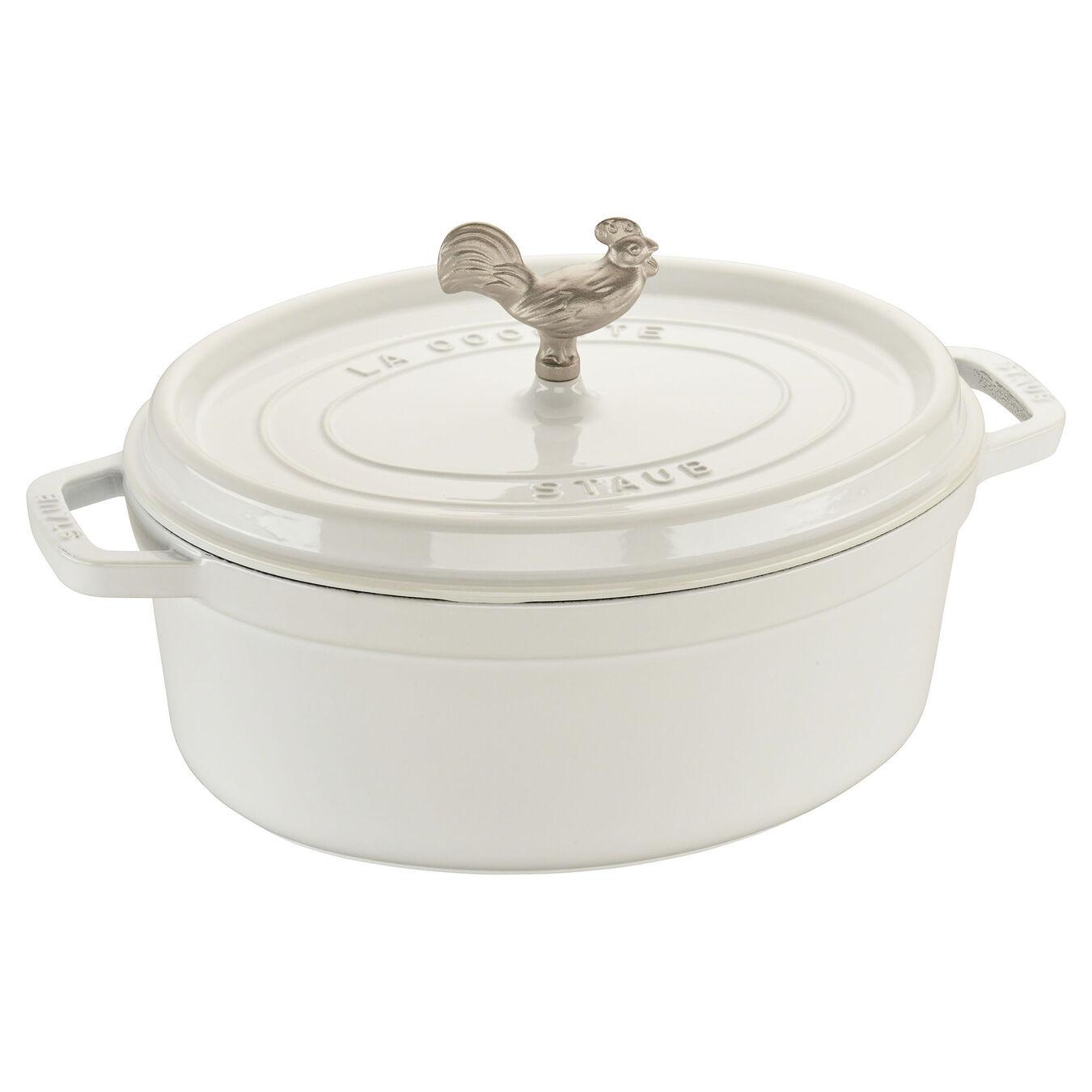 5.5 qt, oval, Coq au Vin Cocotte, white,,large 1