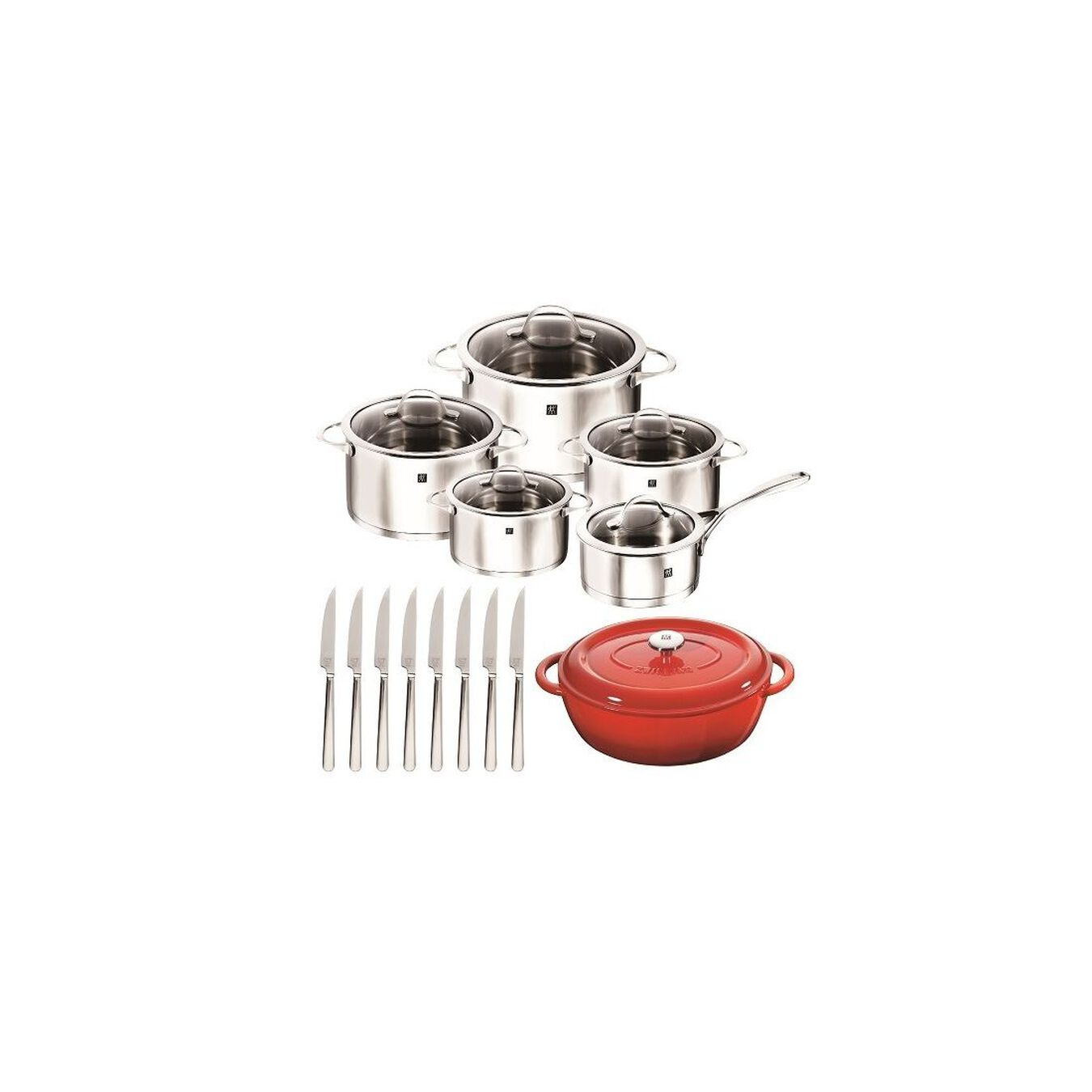 Pot set, 10 Piece   round   18/10 Stainless Steel,,large 2