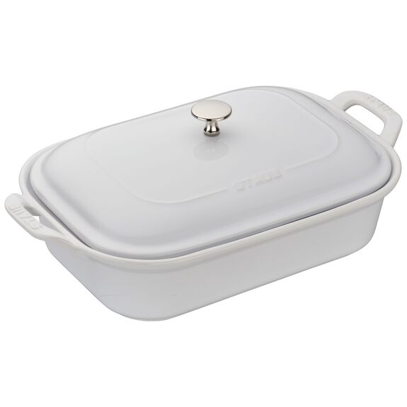 12-inch x 8-inch Rectangular Covered Baking Dish - White,,large
