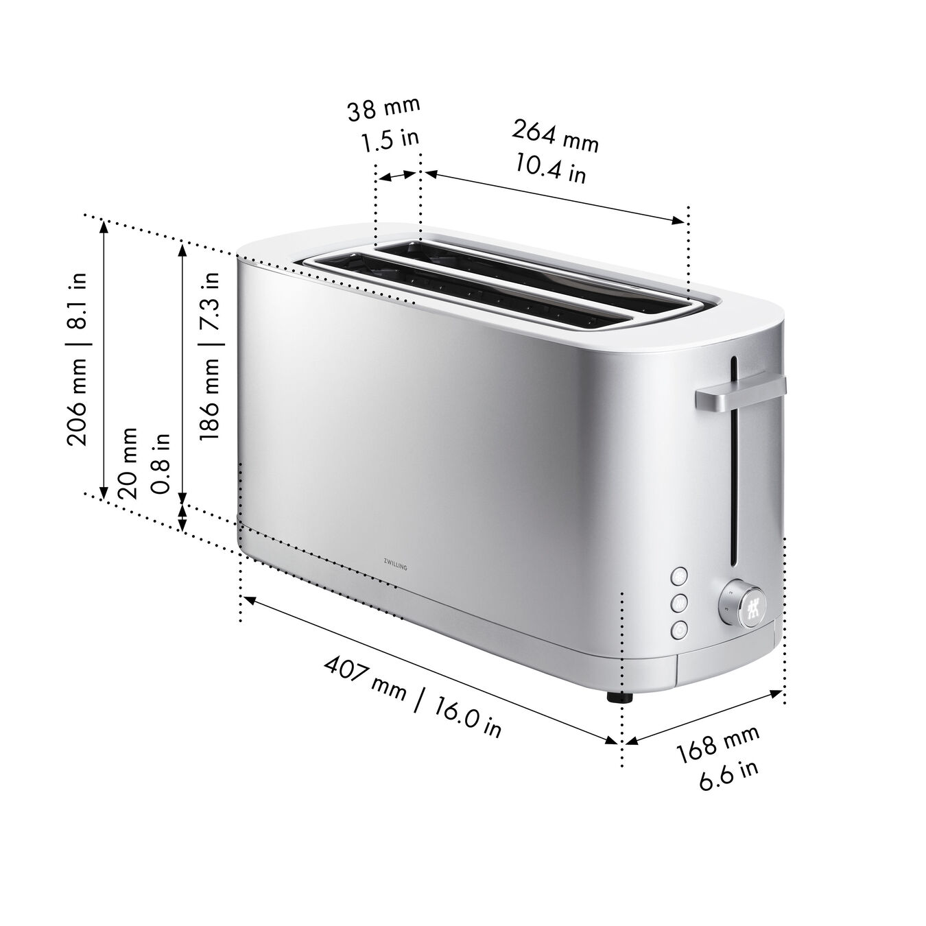 Toaster mit Brötchenaufsatz, 2 Schlitze lang, Silber,,large 7