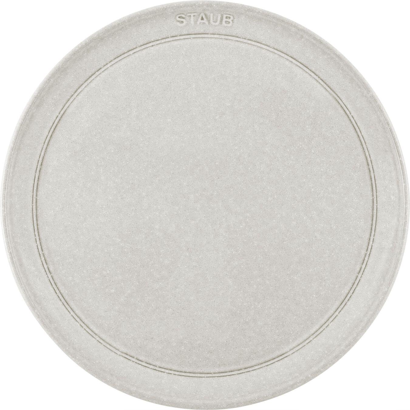 26 cm Ceramic round Plate flat, white truffle,,large 2