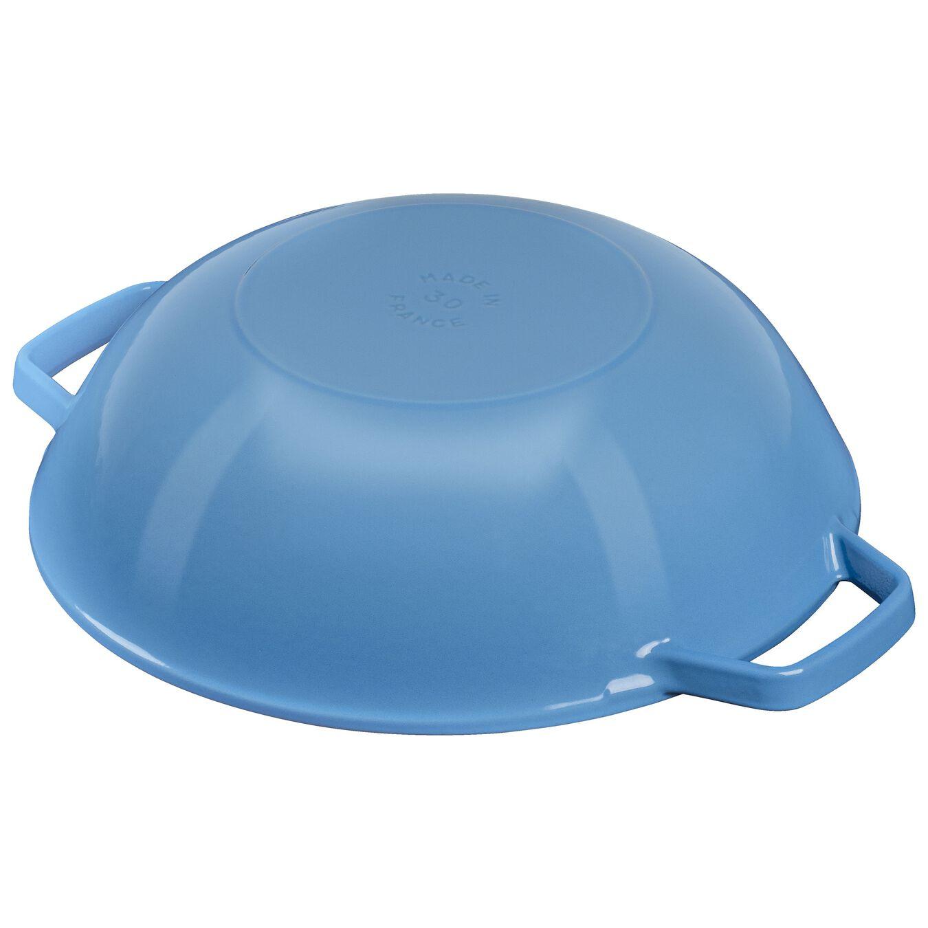 30 cm / 12 inch Cast iron Wok, ice-blue,,large 3