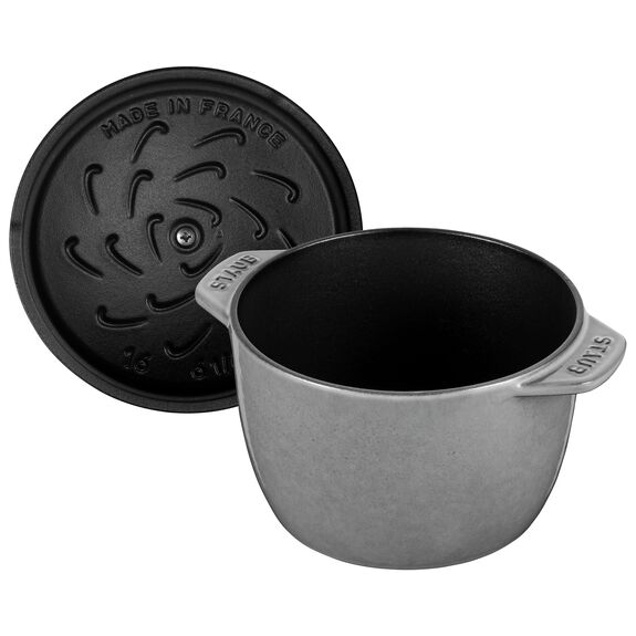 6.5-inch round Cast iron Rice Cocotte, Graphite Grey,,large 4