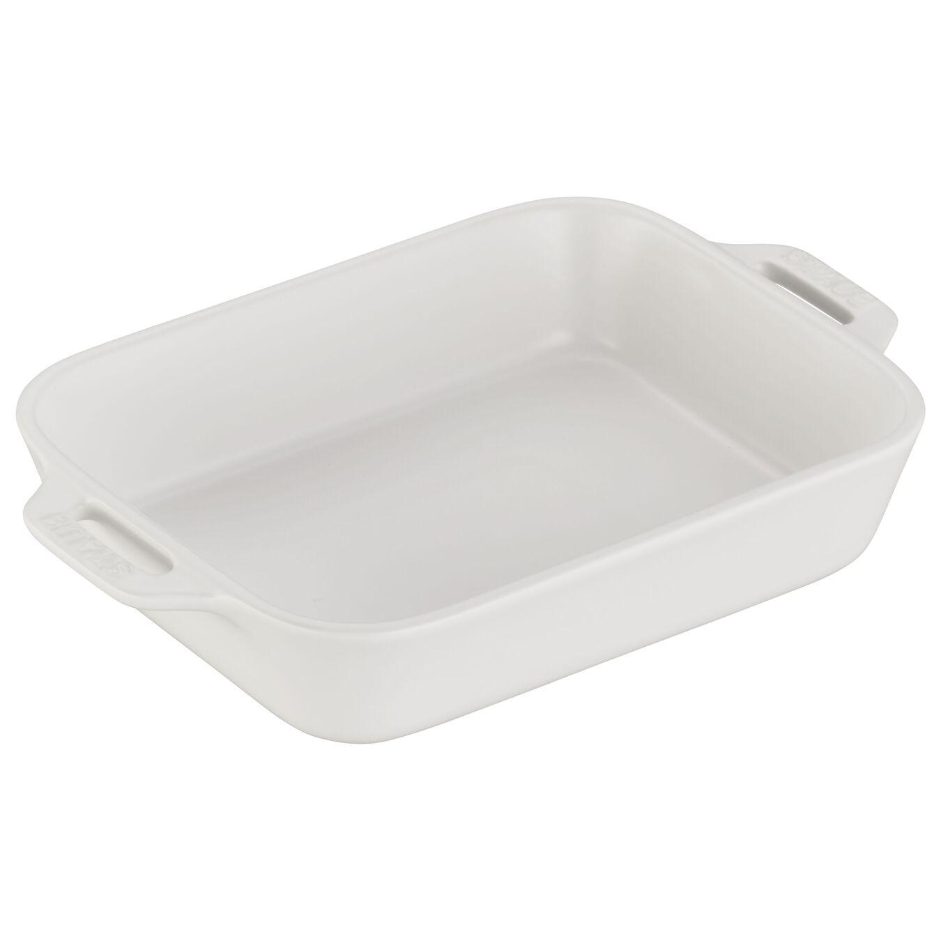 Ceramic rectangular Plat empilable, Matte-White,,large 1