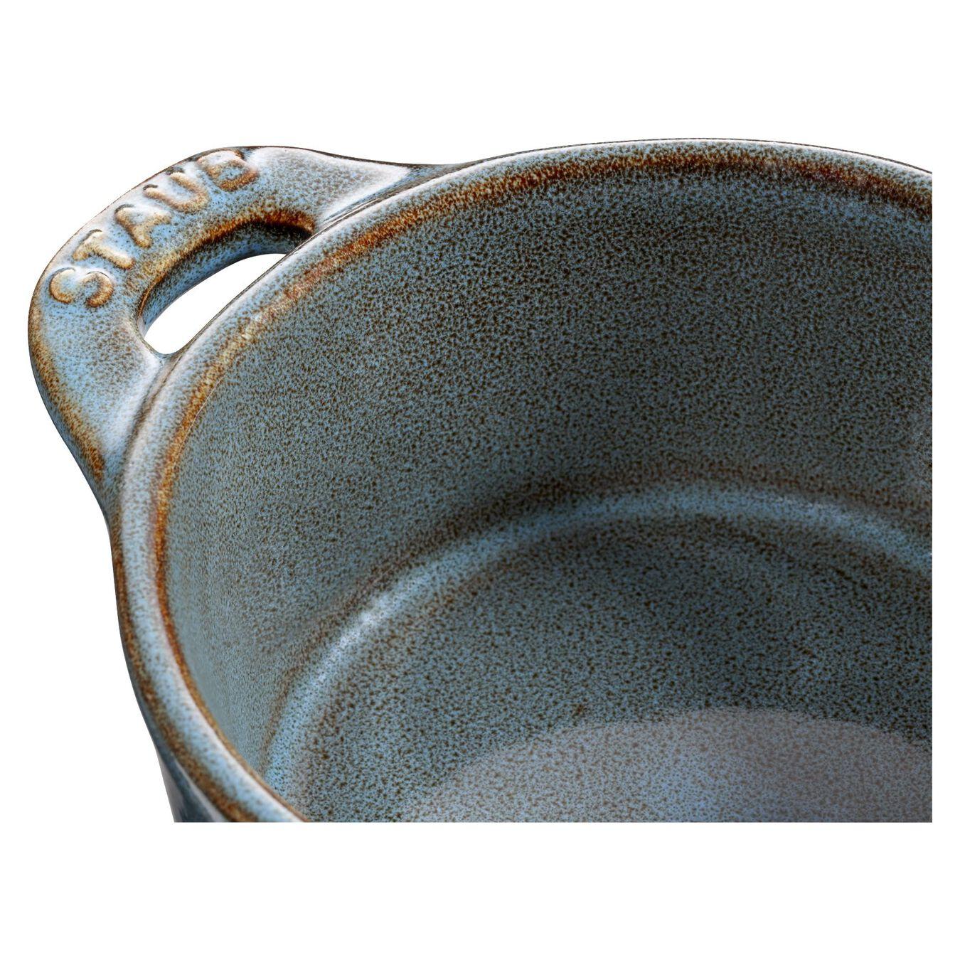 Mini Cocotte 10 cm, rund, Antik-Türkis, Keramik,,large 5