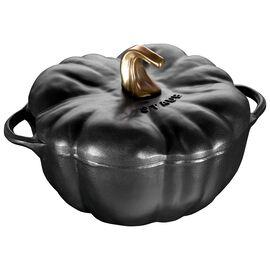 Staub Cast iron, 3.75-qt-/-24-cm Pumpkin Cocotte, Black