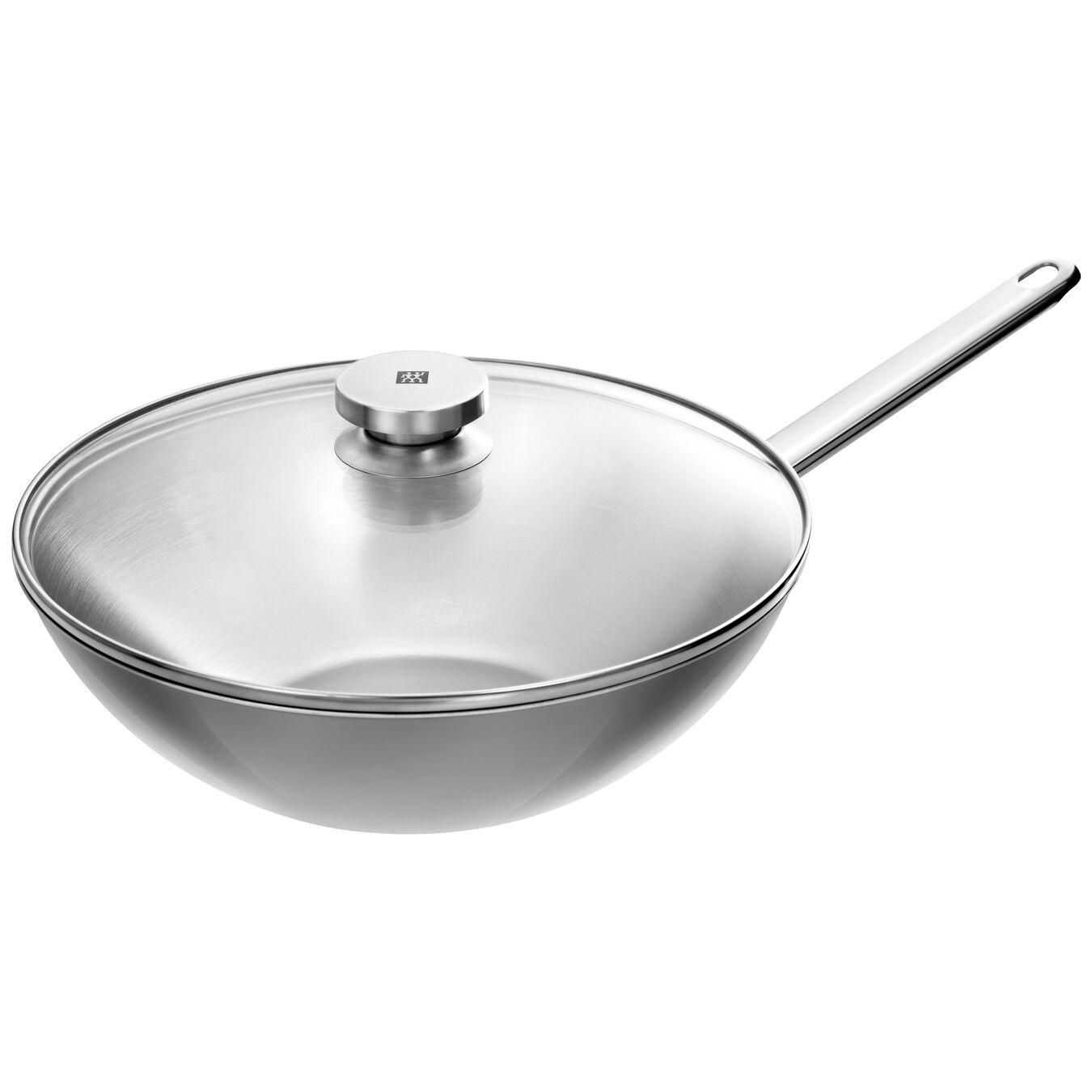 Wok Tava | 18/10 Paslanmaz Çelik | Metalik Gri | 30 cm,,large 1
