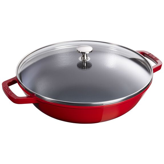 12-inch Enamel Wok with glass lid, Cherry,,large 2