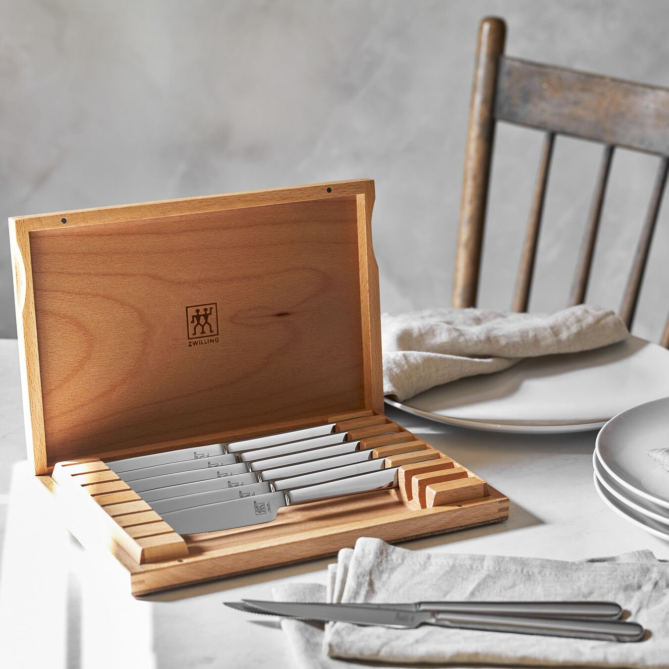 8-pc, Stainless Steel Steak Knife Set with Wood Presentation Case  ,,large 5