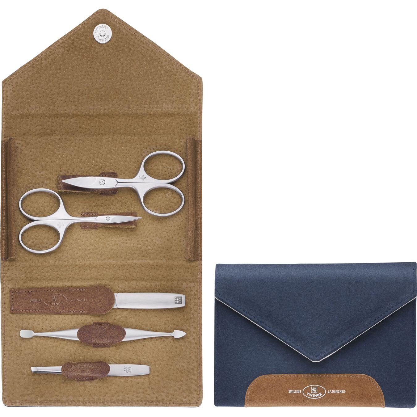Snap fastener case, 5 Piece   Felt   Blue,,large 1