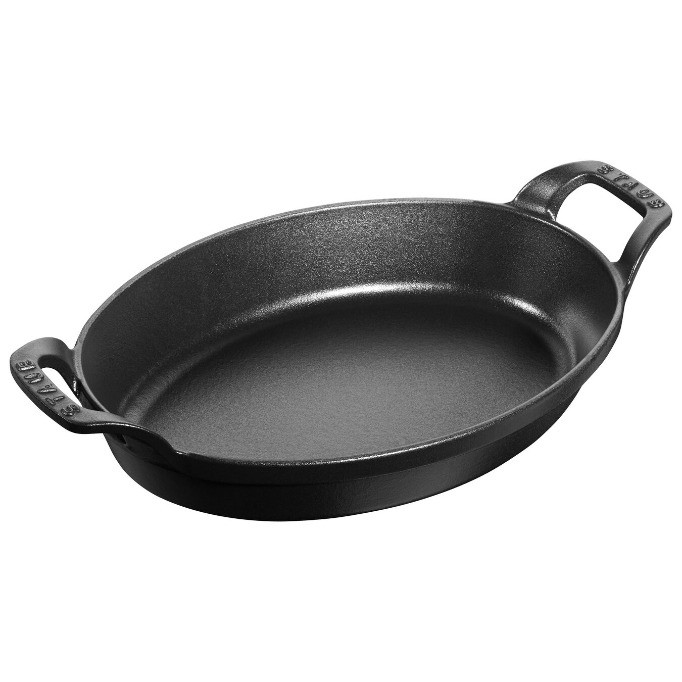 Cast iron oval Oven dish, Black,,large 1
