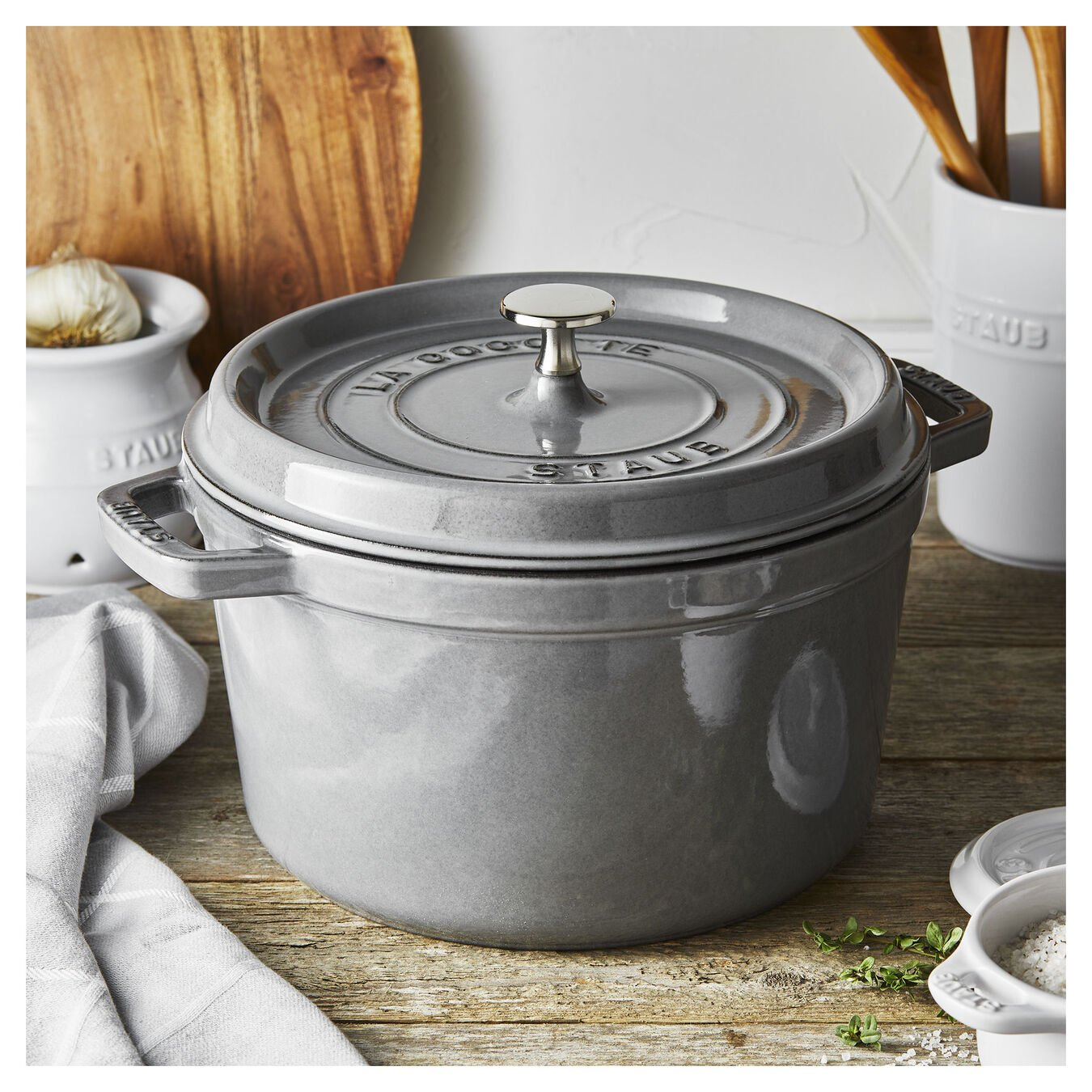 4.8 l round Tall cocotte, graphite-grey,,large 4