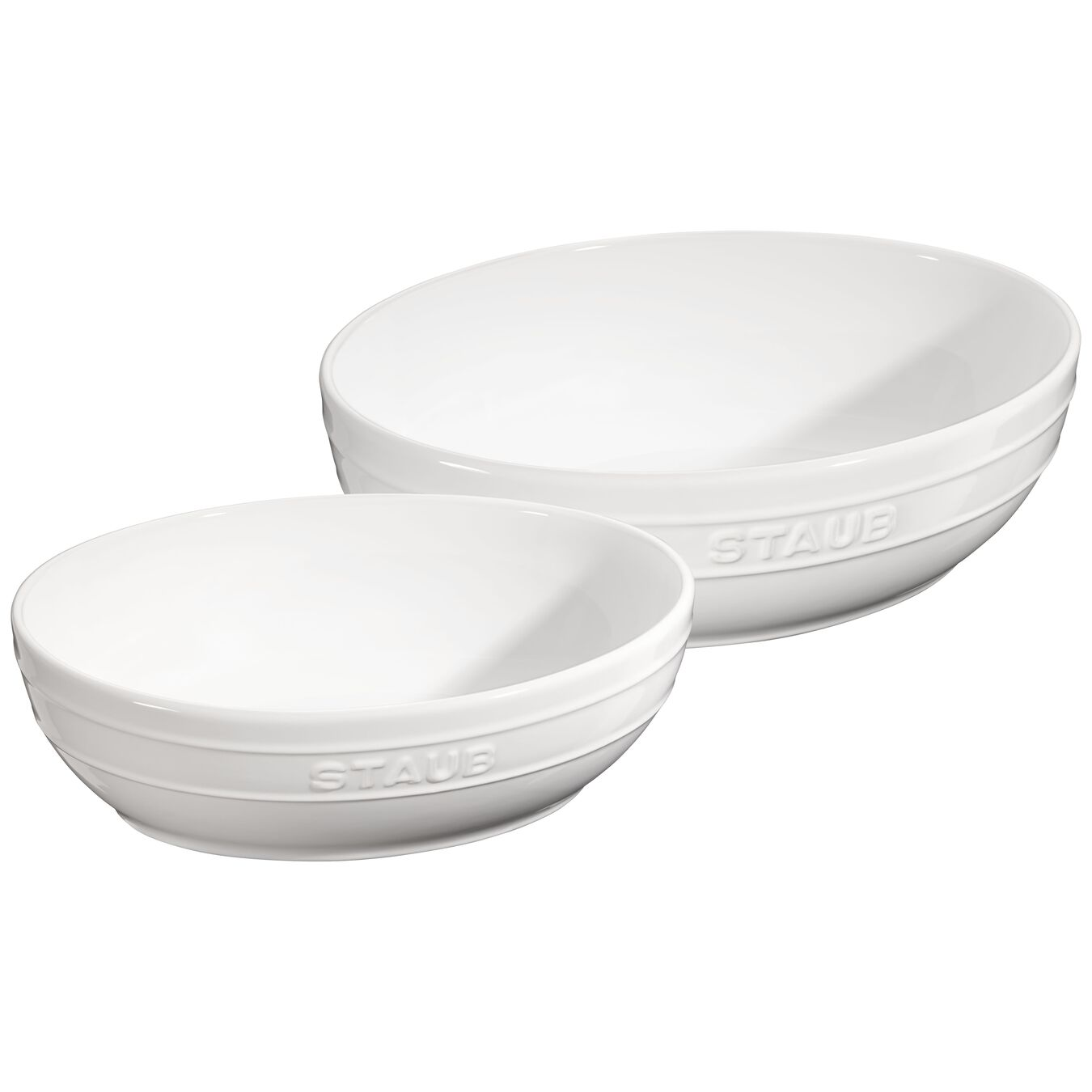2 Piece Ceramic oval Bowl set, Pure-White,,large 1