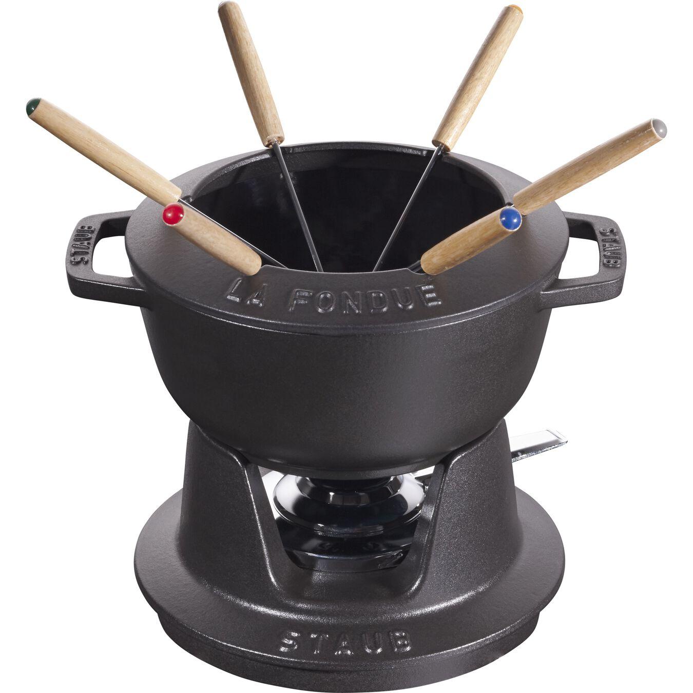 Service à fondue 18 cm, Noir,,large 1