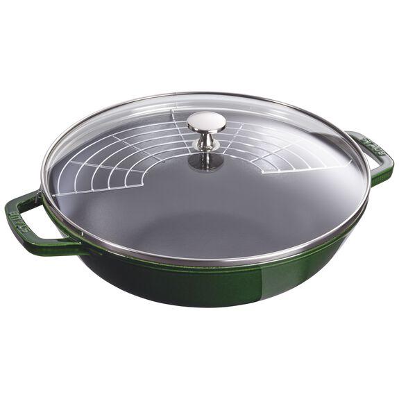 30-cm-/-12-inch Enamel Wok with glass lid, Basil-Green,,large 3