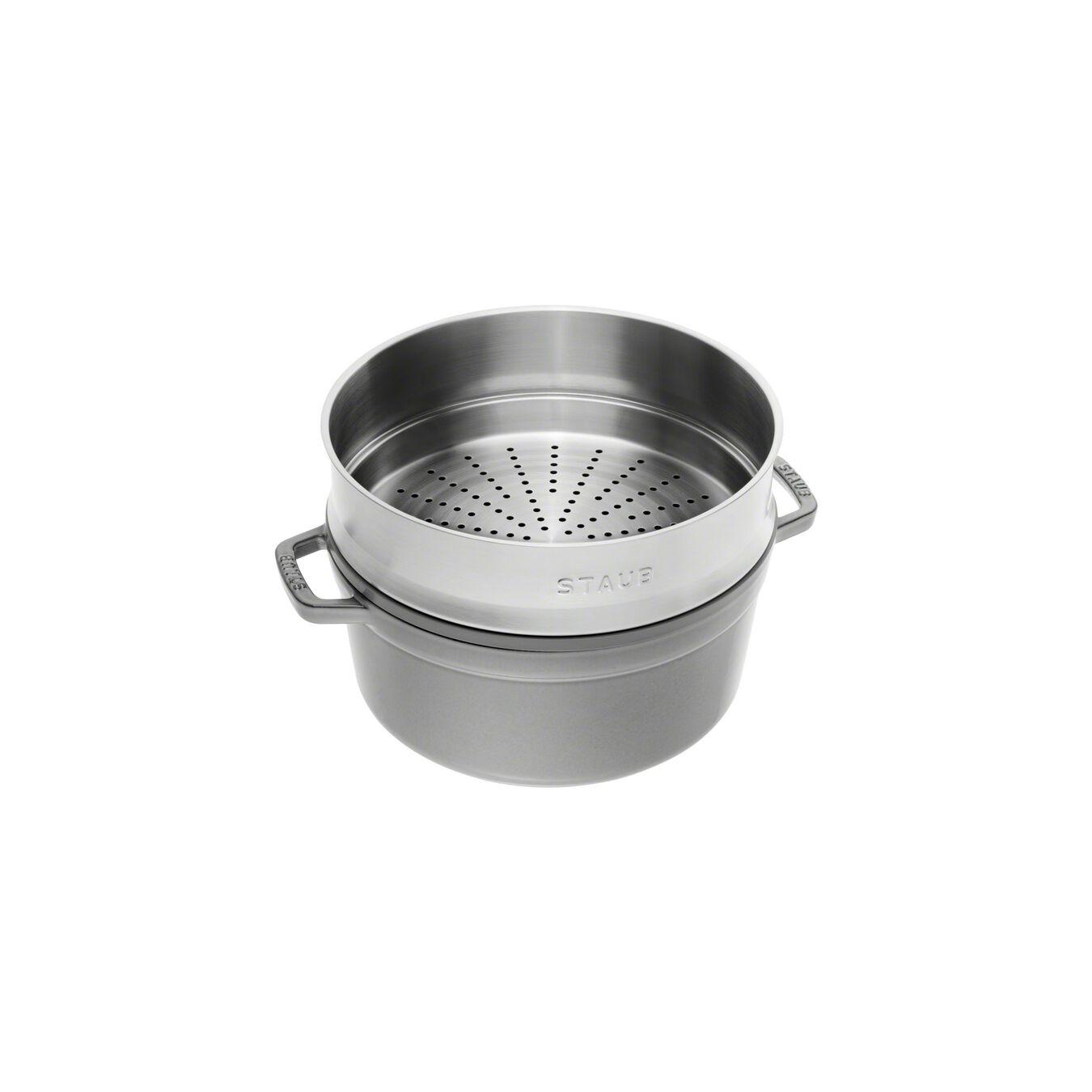 Cocotte avec panier vapeur 26 cm, Rond(e), Gris graphite, Fonte,,large 2
