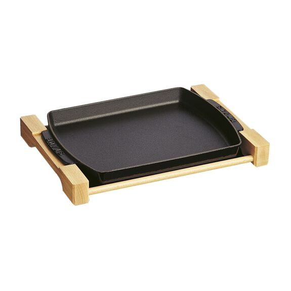 "13"" x 9"" Rectangular Serving Dish with Wood Base - Visual Imperfections - Matte Black,,large 2"