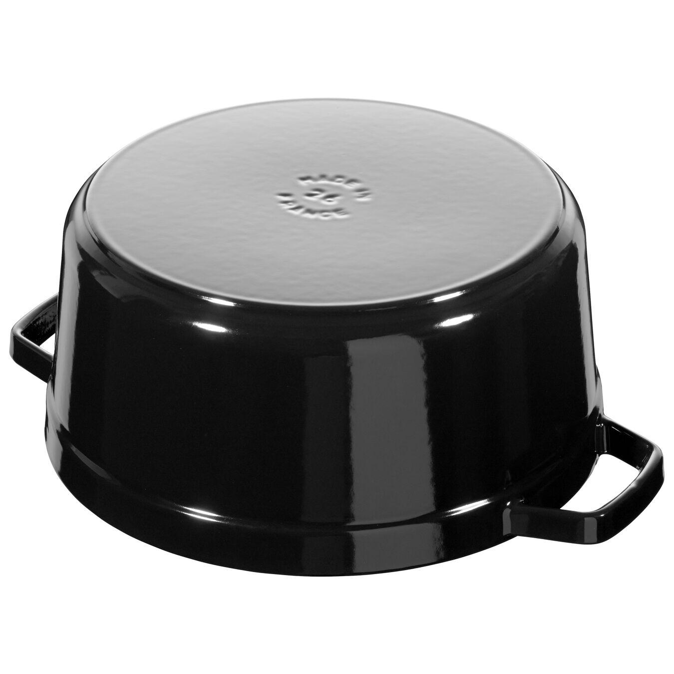 5.5 qt, round, Cocotte, shiny black,,large 5