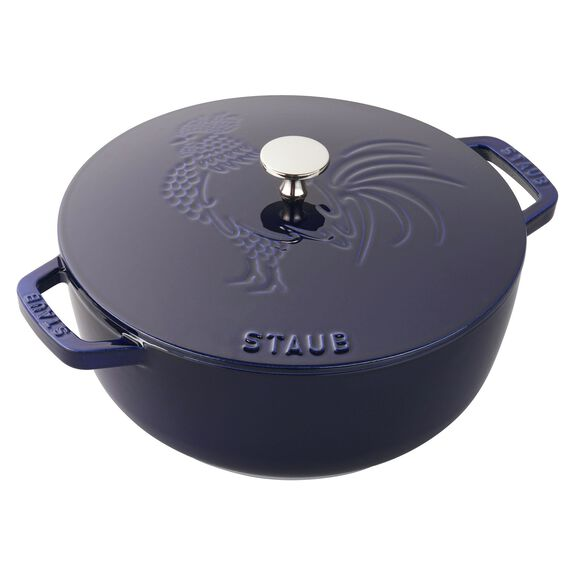 3.75-qt round French oven rooster, Dark Blue,,large