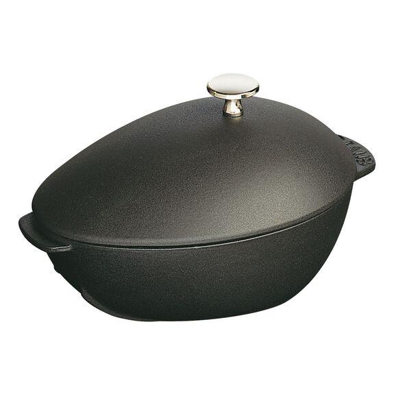 25-cm-/-10-inch oval Enamel Mussel pot, Black,,large 3